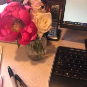 Flowers on a desk