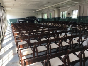 brown folding chairs in Lodge Garage at the Packard Proving Grounds Historic Site
