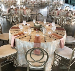 image of round table set with lovely decorative items