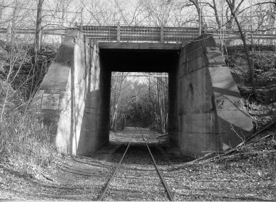 black and white image of a roadway tunnel on the PPG testing property