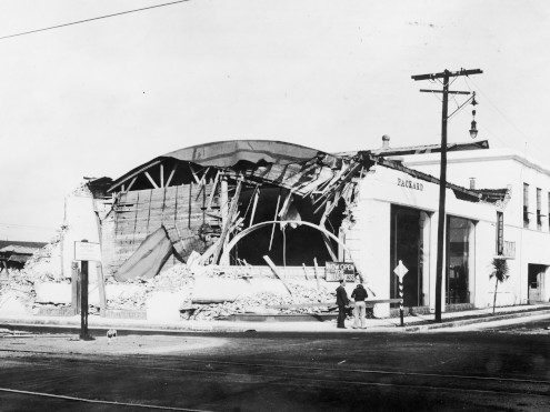 William Morgan Packard dealership in Long Beach California after the 1933 earthquake