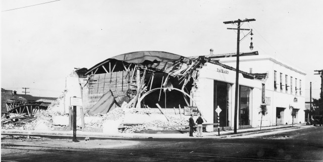 William Morgan Packard dealership in Long Beach California after the 1933 earthquake
