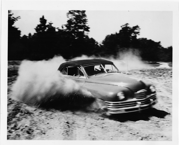 To prepare for its introduction the 1948 Packard was subject to thousands of test miles at the Packard Proving Grounds