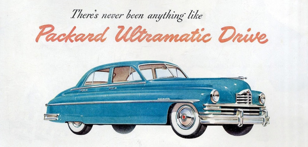 A Packard print ad for the 1949 Packard featuring Ultramatic Drive