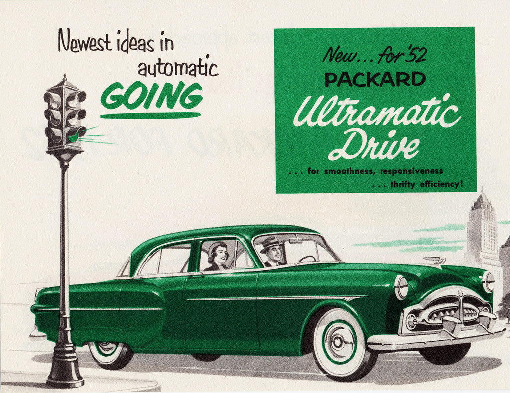 Newest ideas in automatic going ... new for 1952 Packard Ultramatic Drive