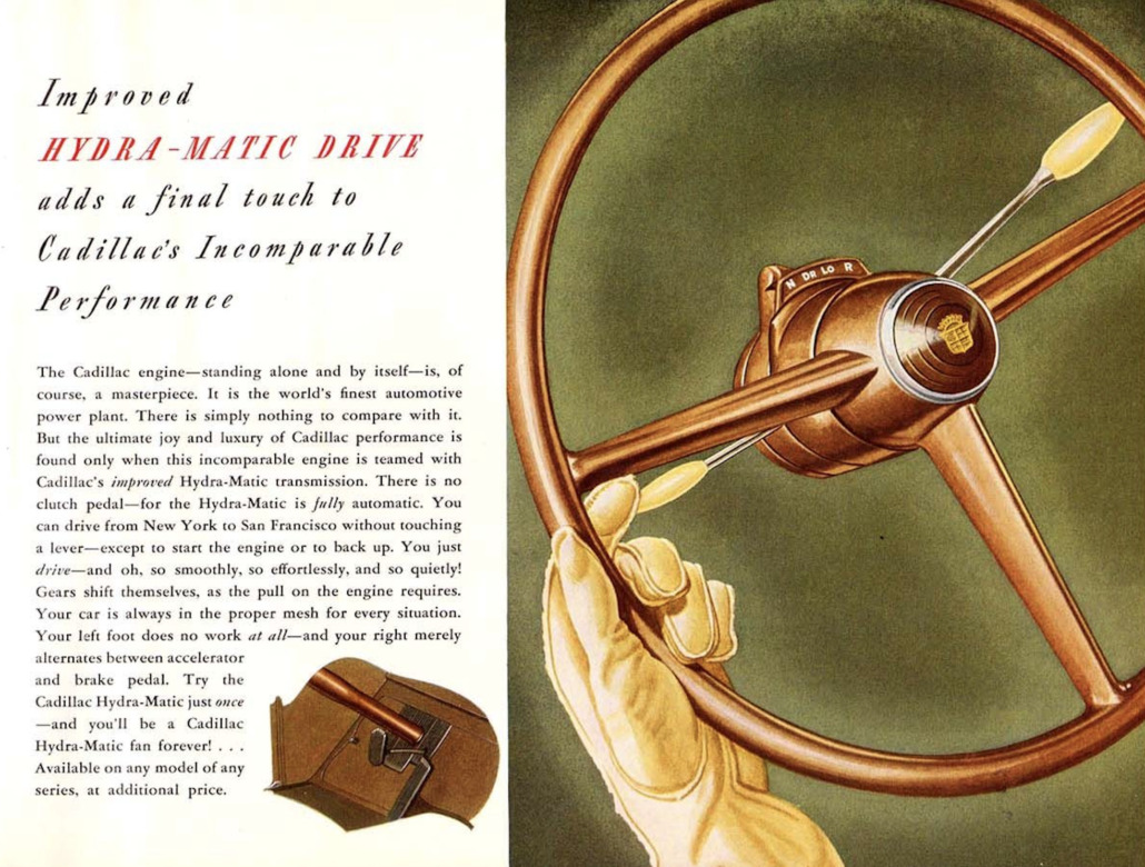 An ad featuring a Cadillac with Hydra-Matic Drive